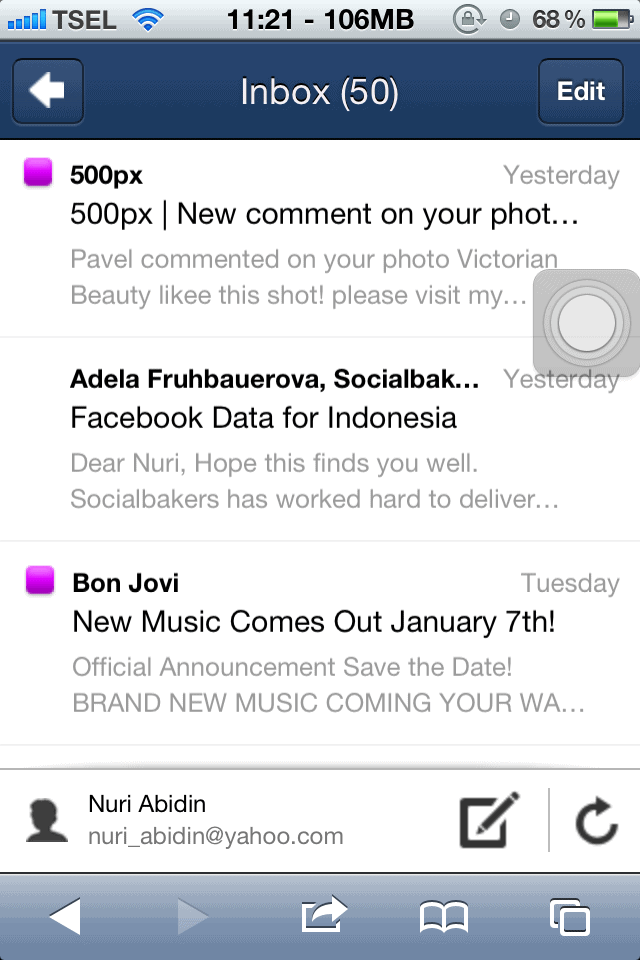 Yahoo Webmail iOS Safari