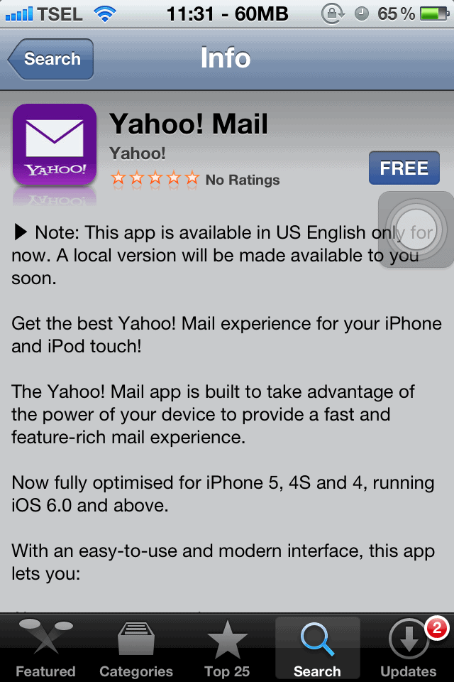 iOS Yahoo! Mail app