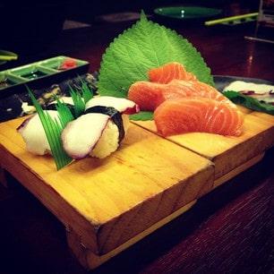tako sushi & salmon sashimi