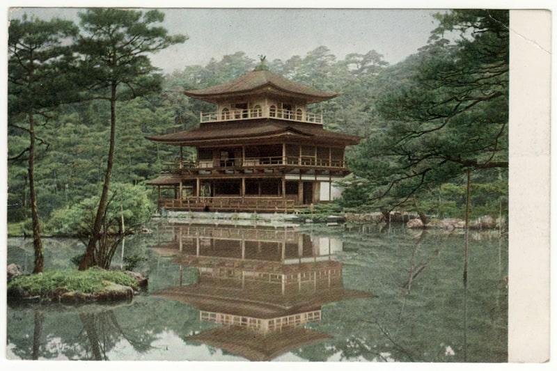 Kinkaku-ji in a postcard 1950. Courtesy of harwelldesu.com